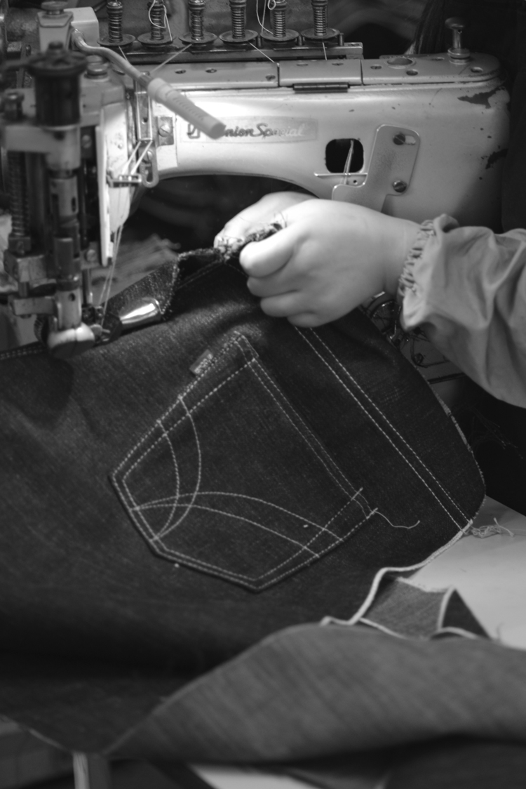 ジーンズの縫製